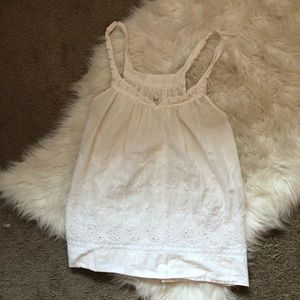 aerie Tops - Aerie White Eyelet Tank Top